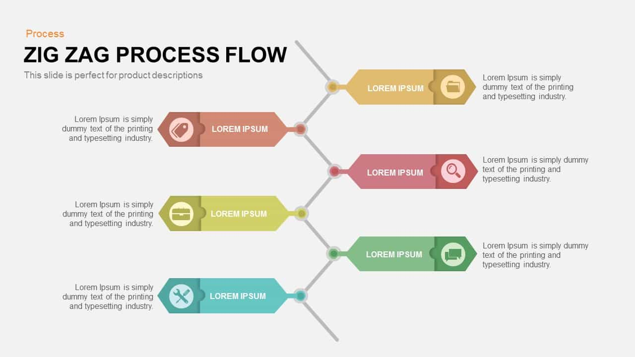 Zig Zag Process Flow PowerPoint Template