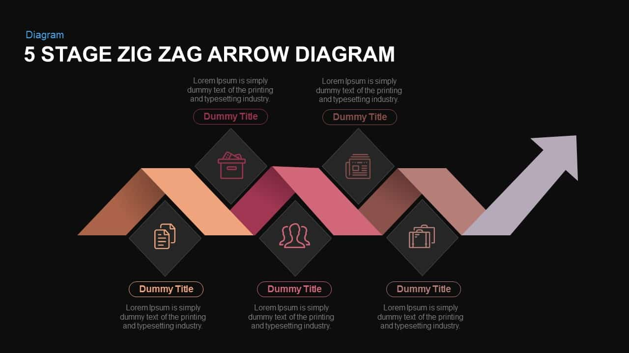 5 Stage zigzag arrow diagram PowerPoint template and keynote