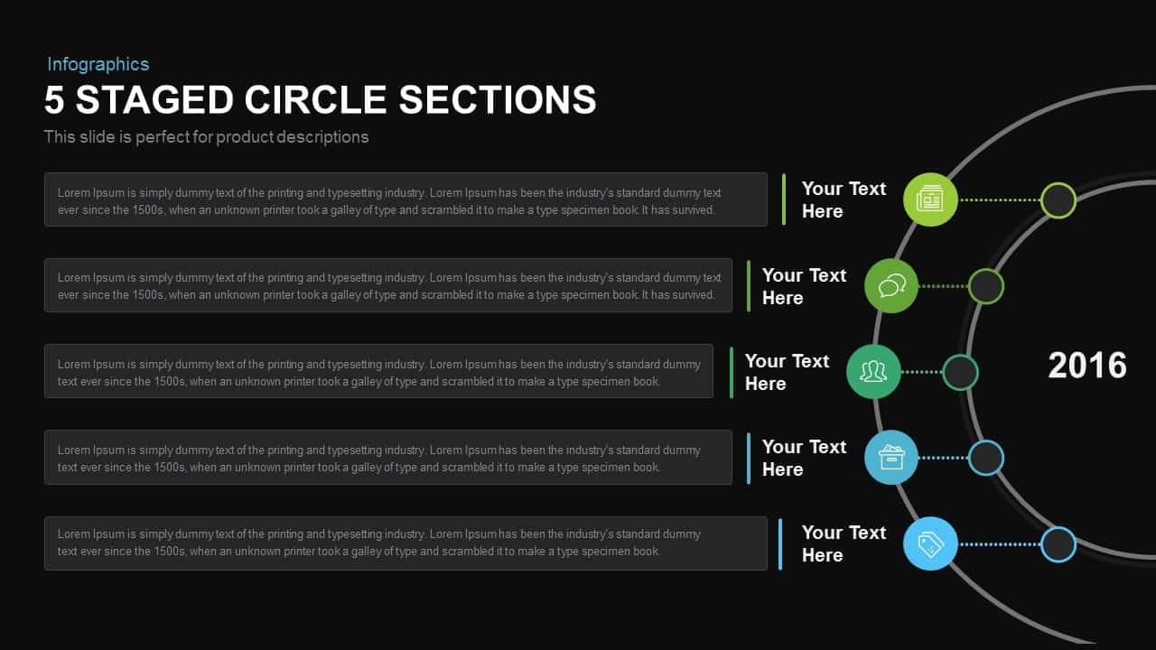 5 Staged Circle Sections Powerpoint and Keynote template