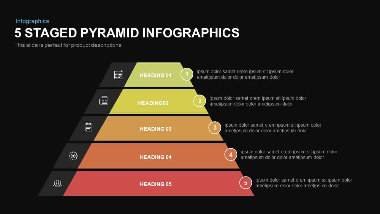 5 Staged Infographic Pyramid PowerPoint Template
