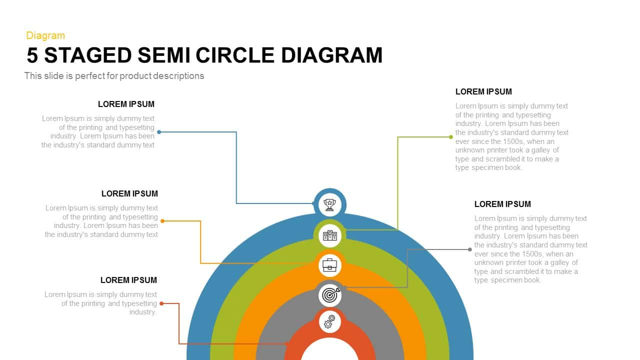 5 Staged Semi Circle Diagram for PowerPoint and Keynote