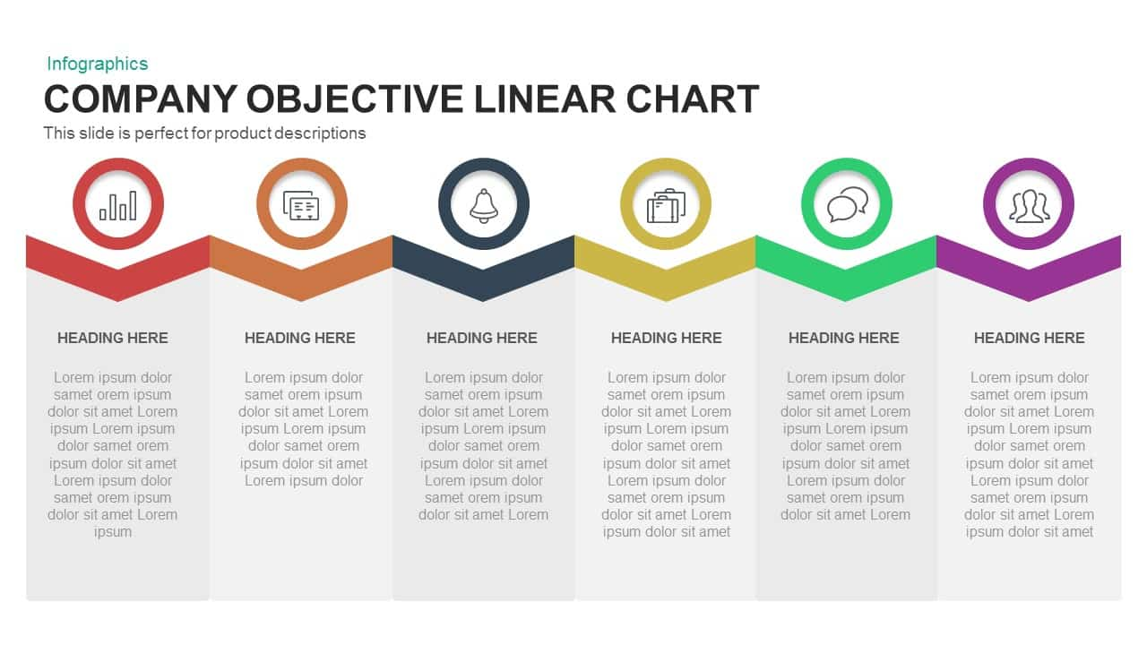 Company objective linear chart PowerPoint template and keynote