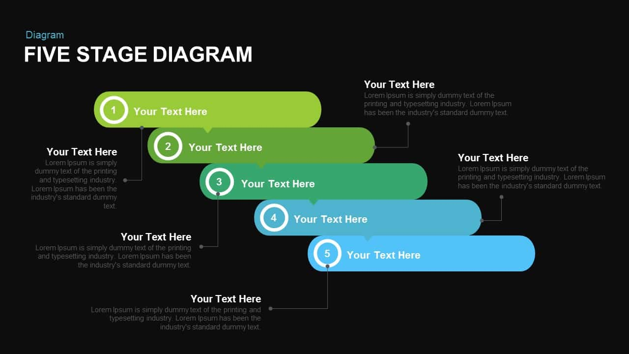 Five Stage Diagram Powerpoint and Keynote template
