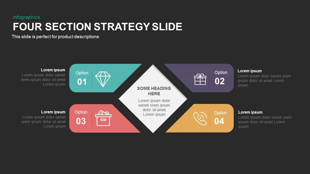 Four Section Strategy Powerpoint and Keynote Slide