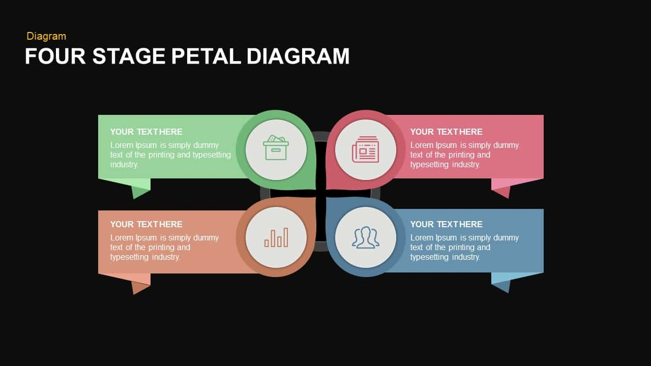 4 Stage petal diagram PowerPoint template and keynote