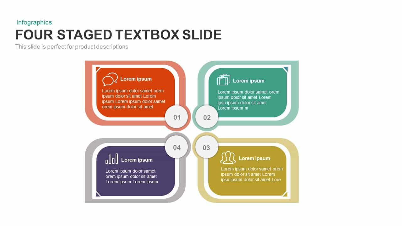 4 staged text box PowerPoint template and keynote