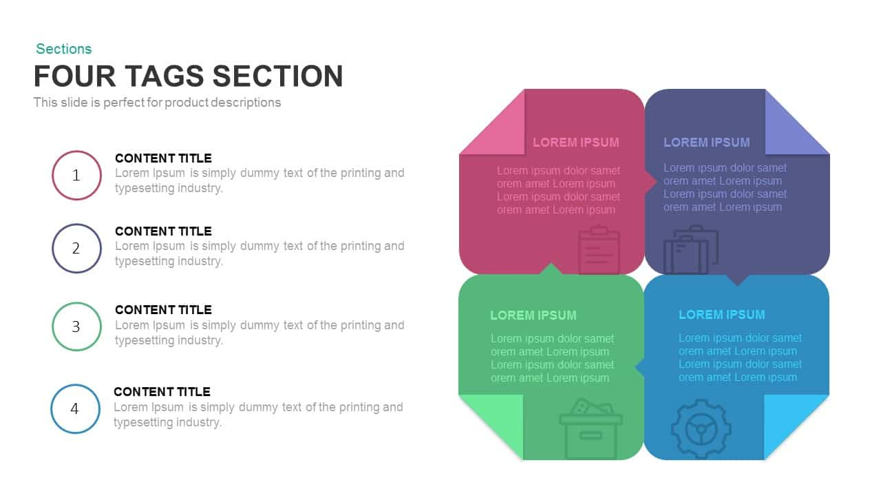 4 tags section PowerPoint template and keynote