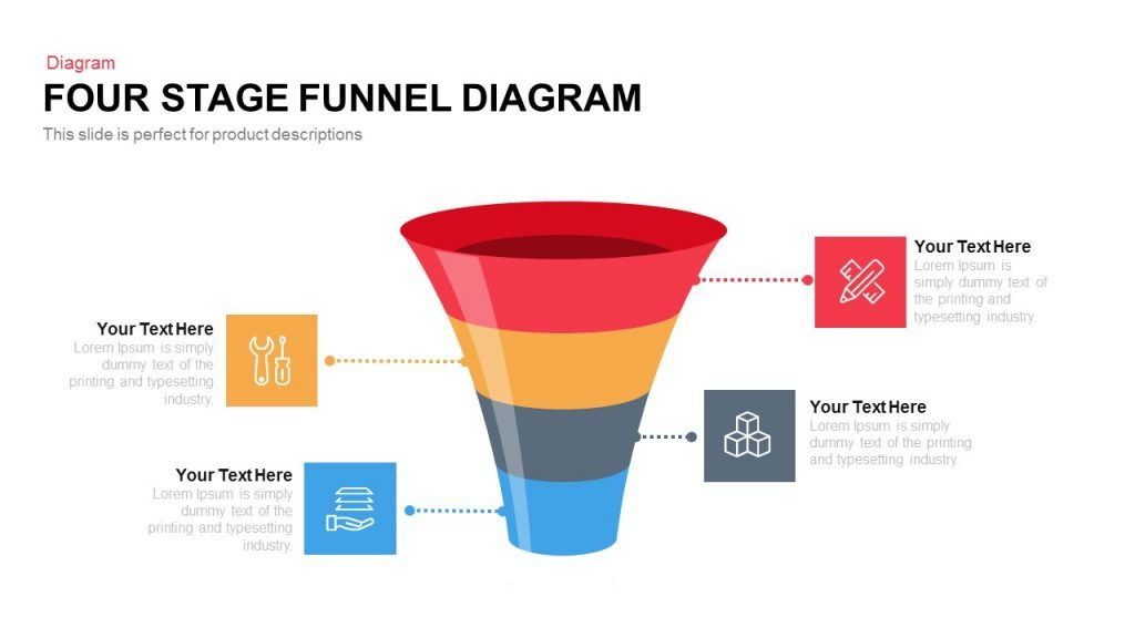 four and five stage funnel diagram powerpoint and keynote