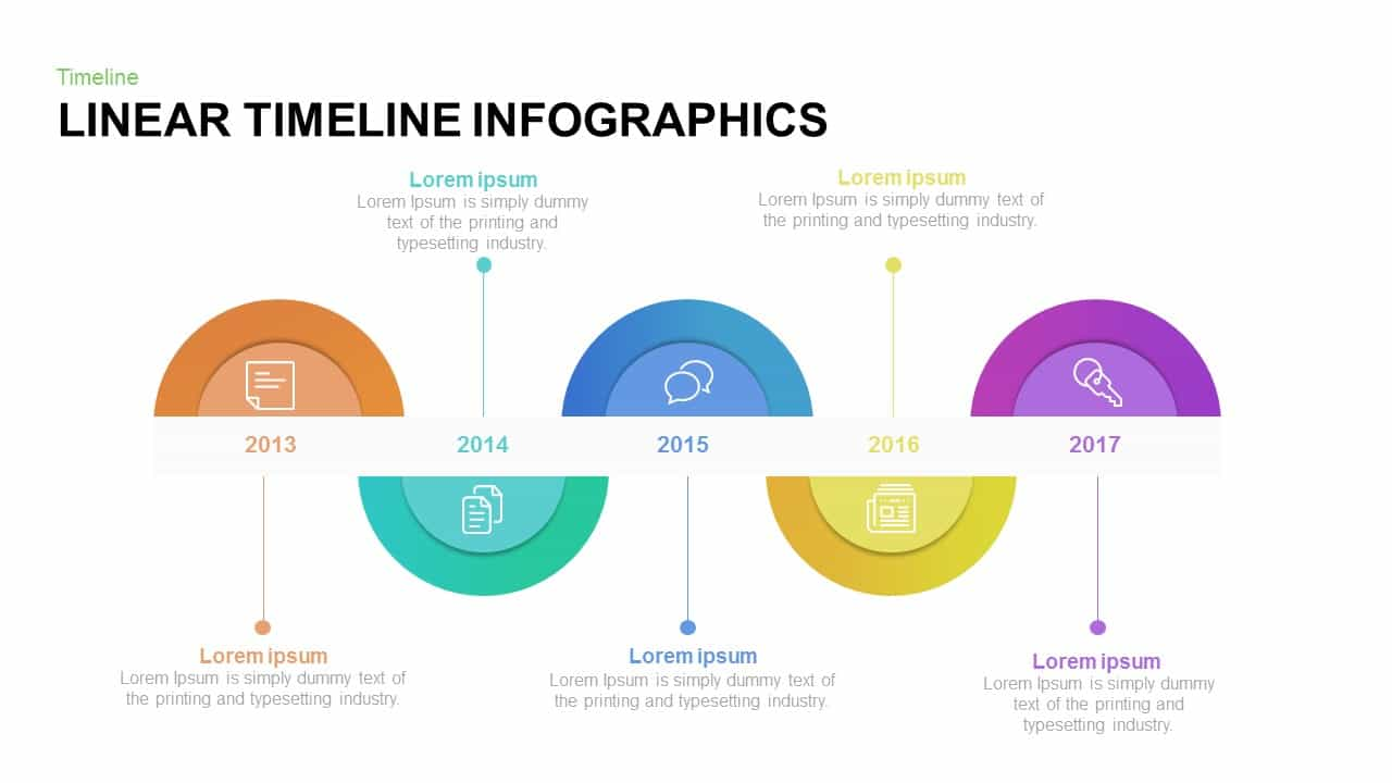 Linear timeline template for PowerPoint and keynote