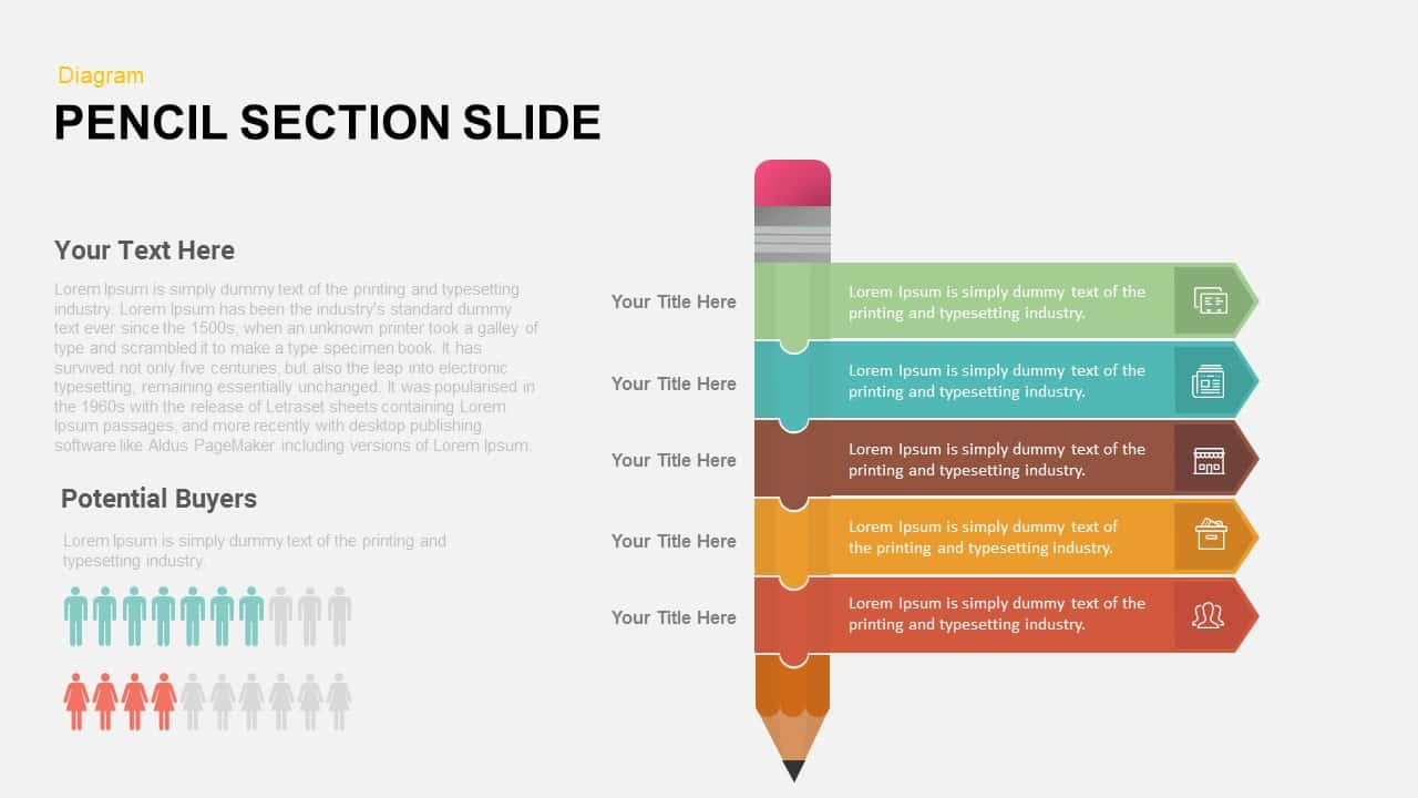 5 Section Pencil PowerPoint Template and Keynote