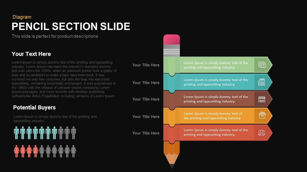 Pencil Section Powerpoint and Keynote Slide