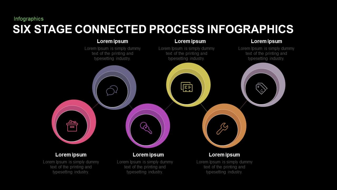 Six Stage Connected Process Infographics