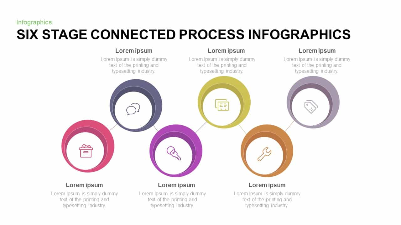 6 Stage Connected Process Infographic Template for PowerPoint and Keynote