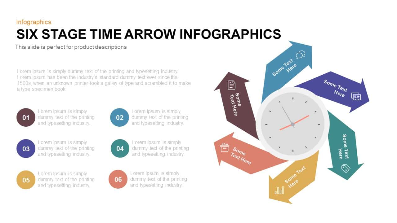 6 Stage Infographic Time Arrow PowerPoint Template and Keynote