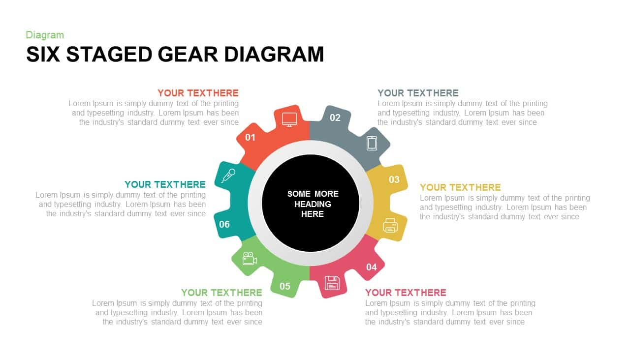 6 staged gear diagram PowerPoint template