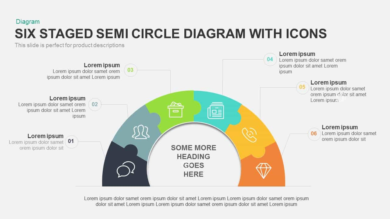 6 staged semi circle diagram powerpoint template with icons