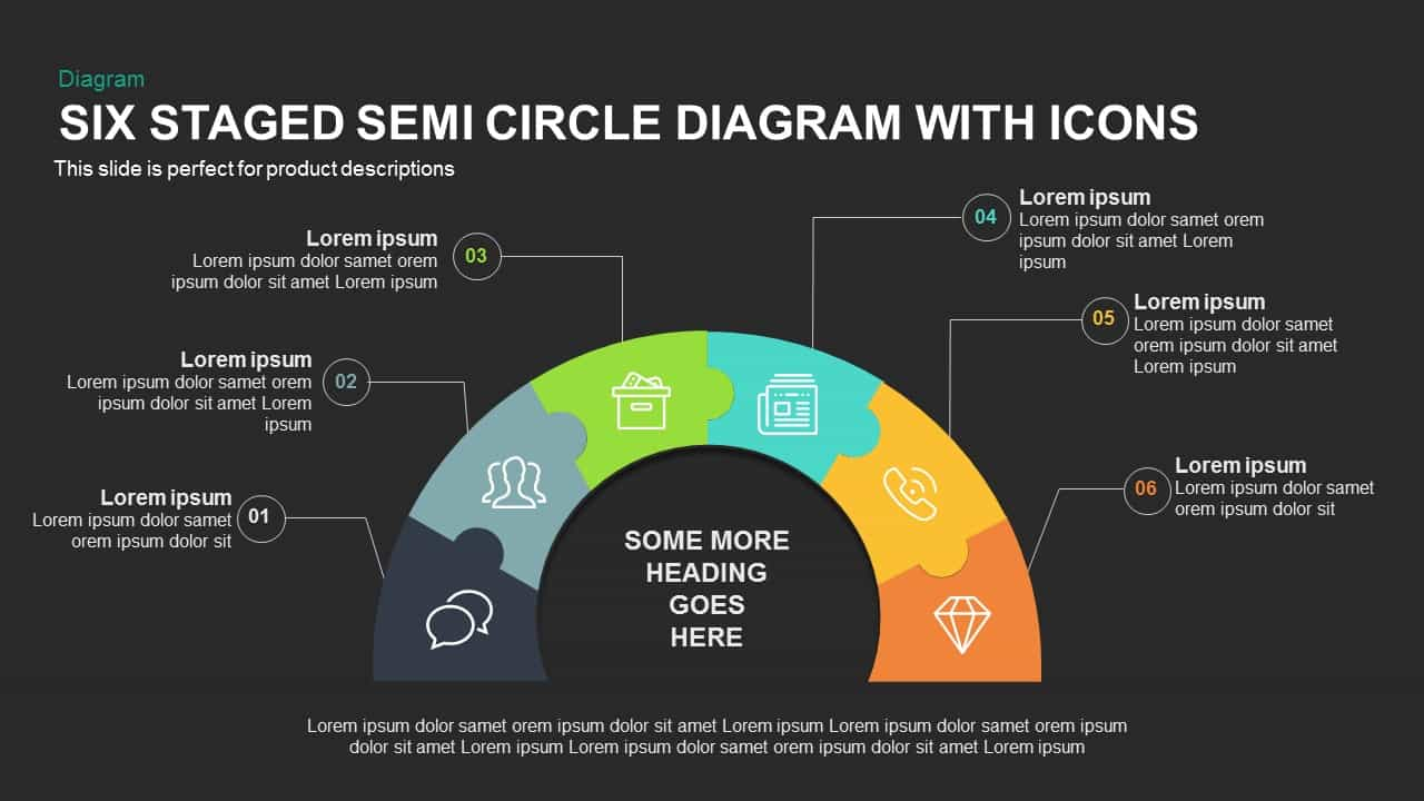 Six Staged Semi Circle Diagram with Icons