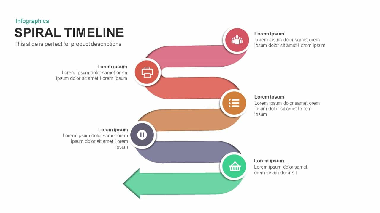 Spiral timeline PowerPoint template and keynote