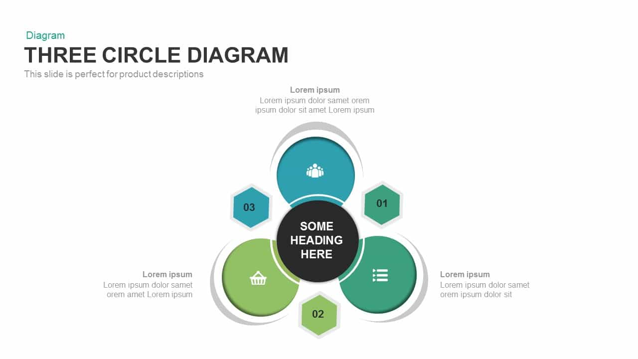 Three Circle Diagram Powerpoint and Keynote template