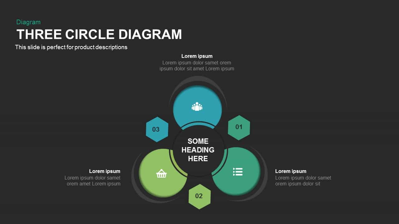 3 Circle Diagram Powerpoint and Keynote template