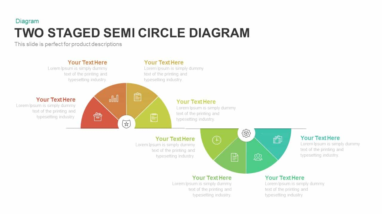 Two Staged Semi Circle Diagram Powerpoint and Keynote template