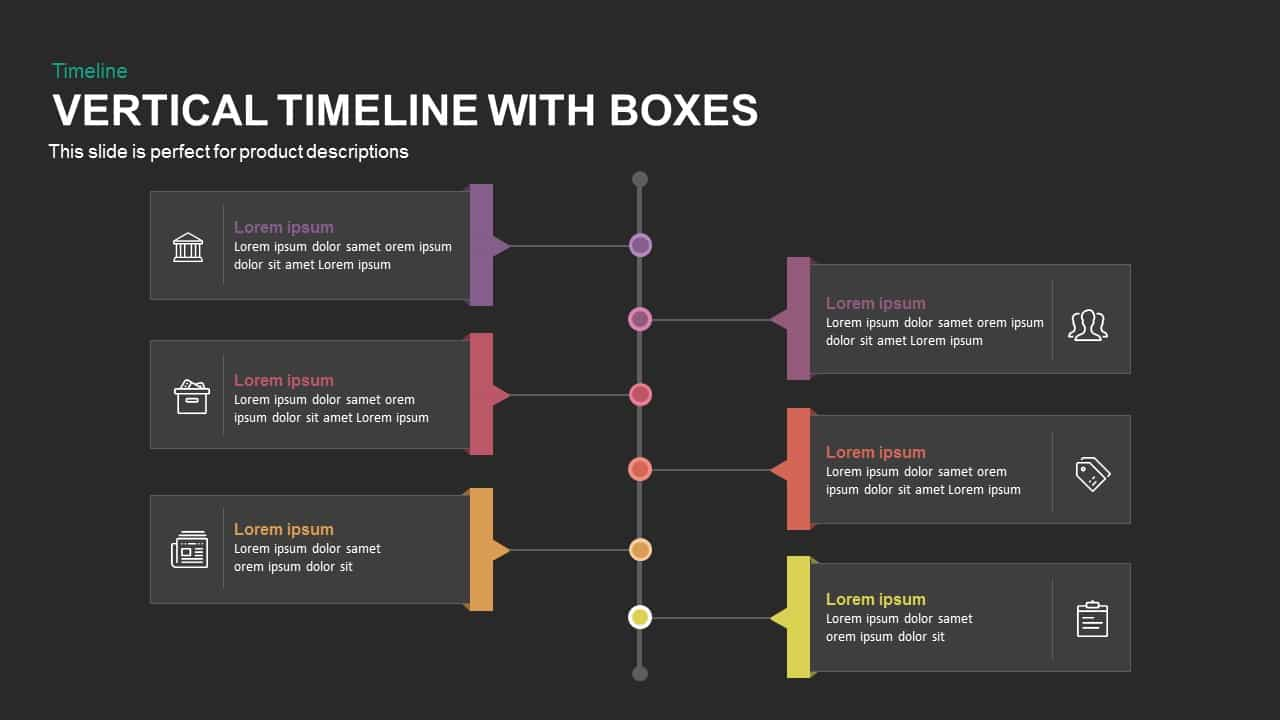 vertical timeline powerpoint template and keynote with boxes