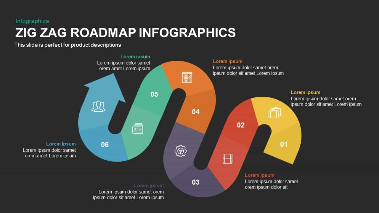 Zig Zag Roadmap Infographics Powerpoint and Keynote template
