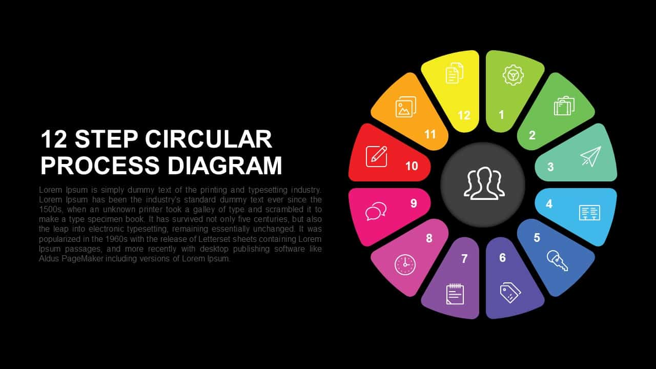 12 step circular process diagram PowerPoint template and Keynote