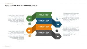 4 Section Infographics Ribbon PowerPoint Template and Keynote