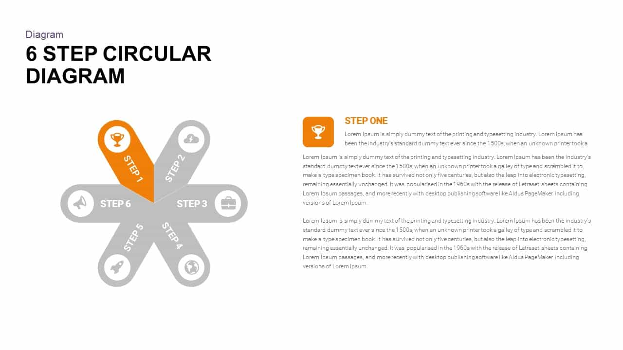 6 Step Circular Diagram Powerpoint and Keynote template
