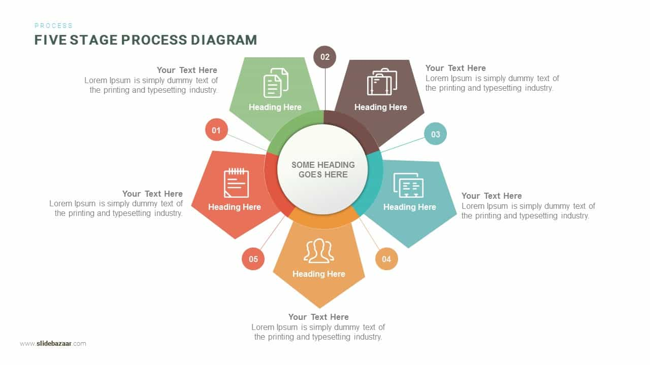 Five Stage Process Diagram Powerpoint and Keynote template