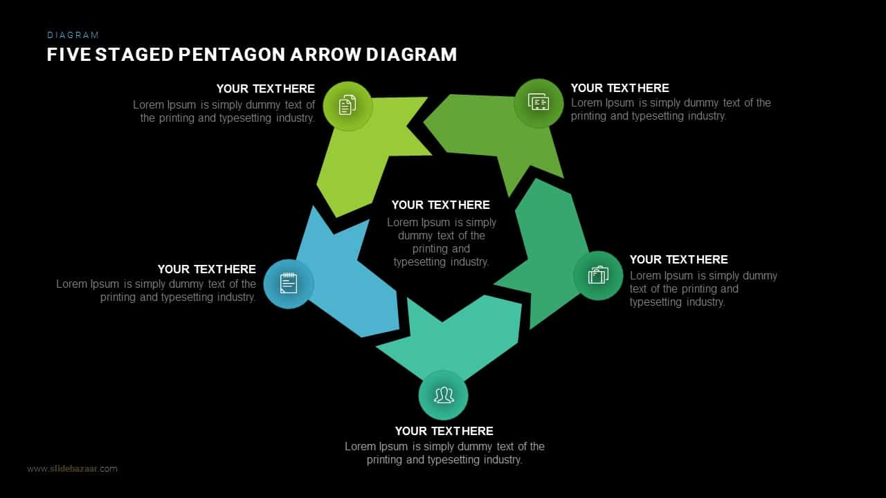 Five Staged Pentagon Arrow Diagram Powerpoint and Keynote template