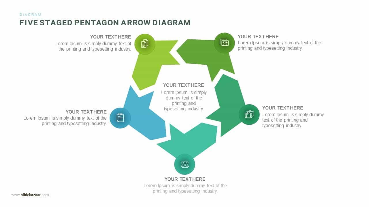 5 steps pentagon shapes PowerPoint arrow diagram