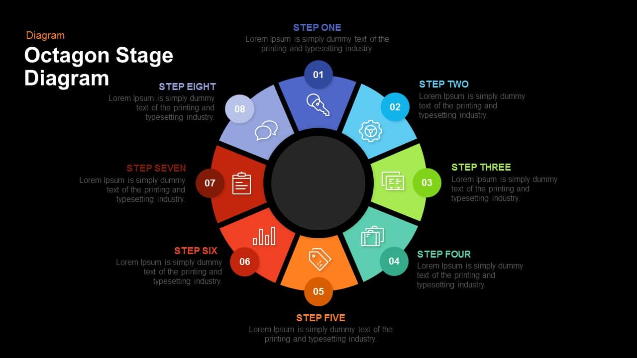 Octagon Stage Process Flow Diagram PowerPoint Template