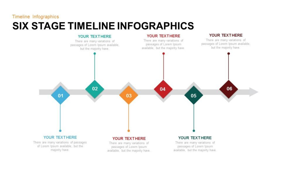 six stage timeline infographics powerpoint and keynote template slidebazaar. Black Bedroom Furniture Sets. Home Design Ideas