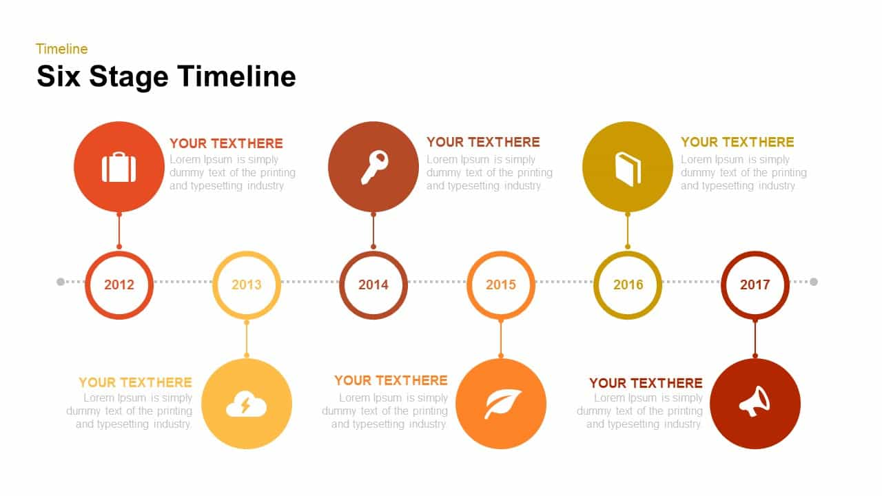 6 stage timeline PowerPoint template