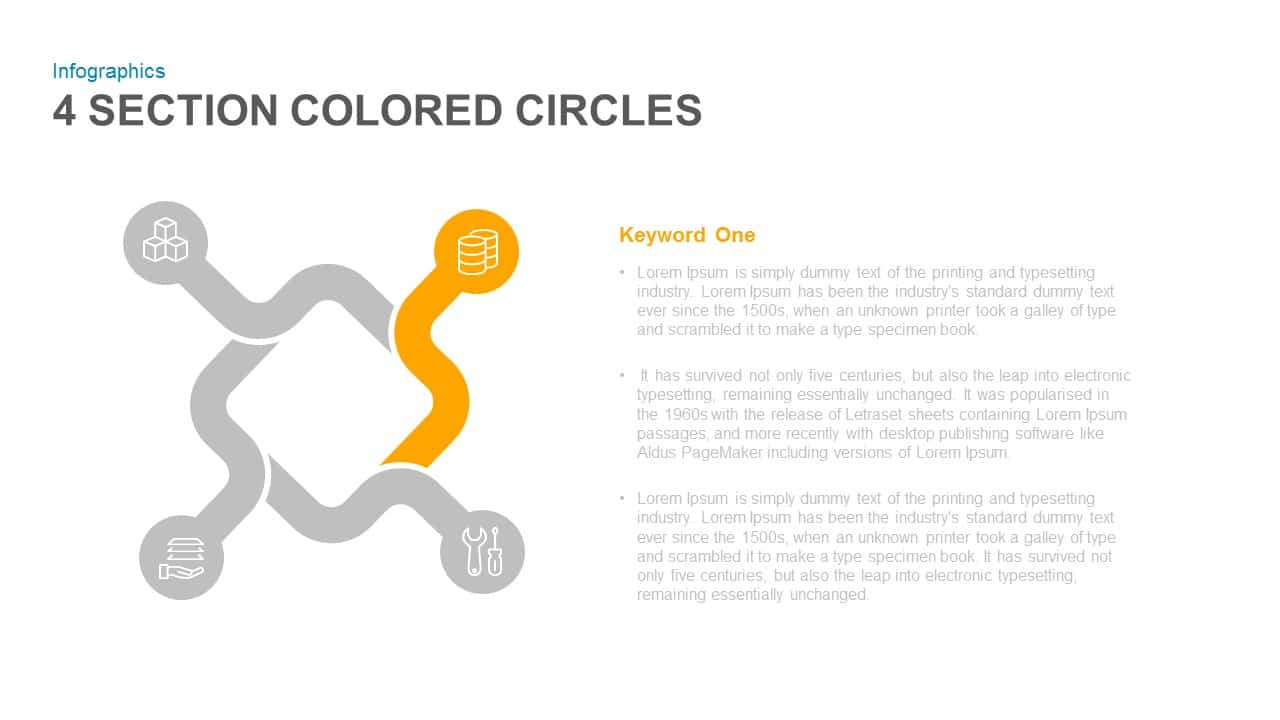 4 Section Colored Circles Powerpoint and Keynote template