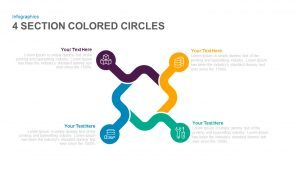 4 Section Colored Circles PowerPoint Template and Keynote Slide