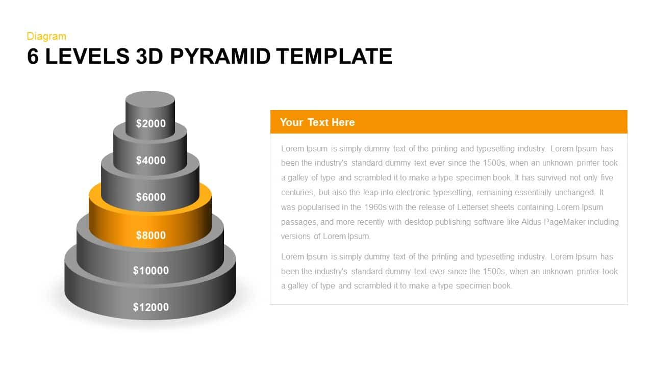 6 Levels 3d Pyramid Powerpoint Template