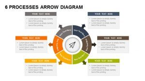 6 Processes Diagram Arrow PowerPoint Template and Keynote Slide