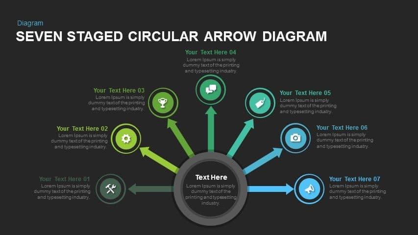 Eight Step Circular Arrow Diagram Powerpoint and Keynote template