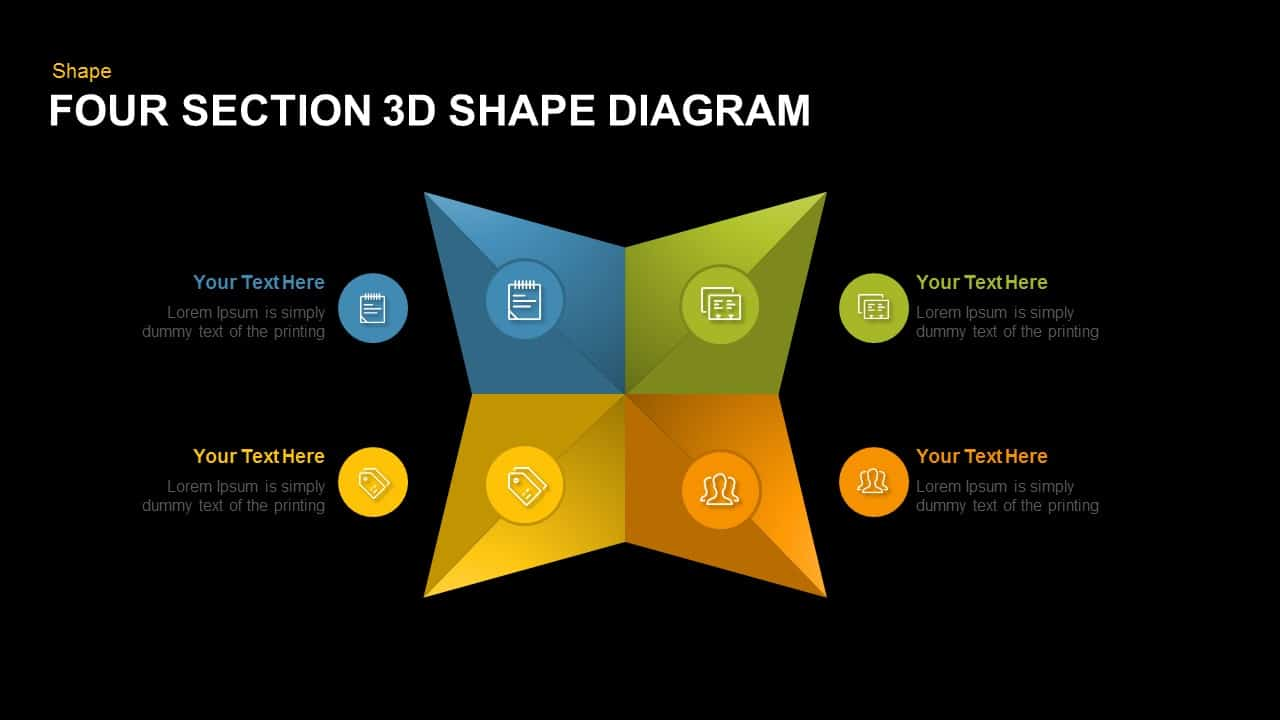 4 Section 3D Shape Diagram PowerPoint Template and Keynote