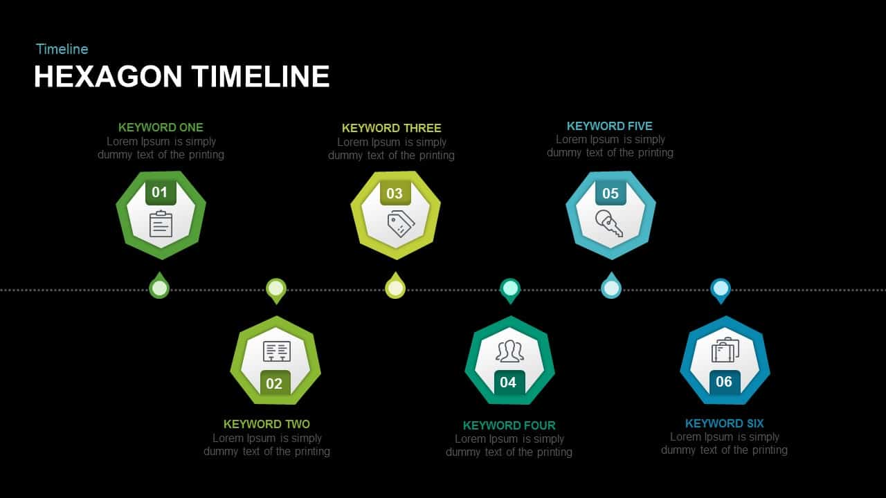 Timeline hexagon PowerPoint template and keynote