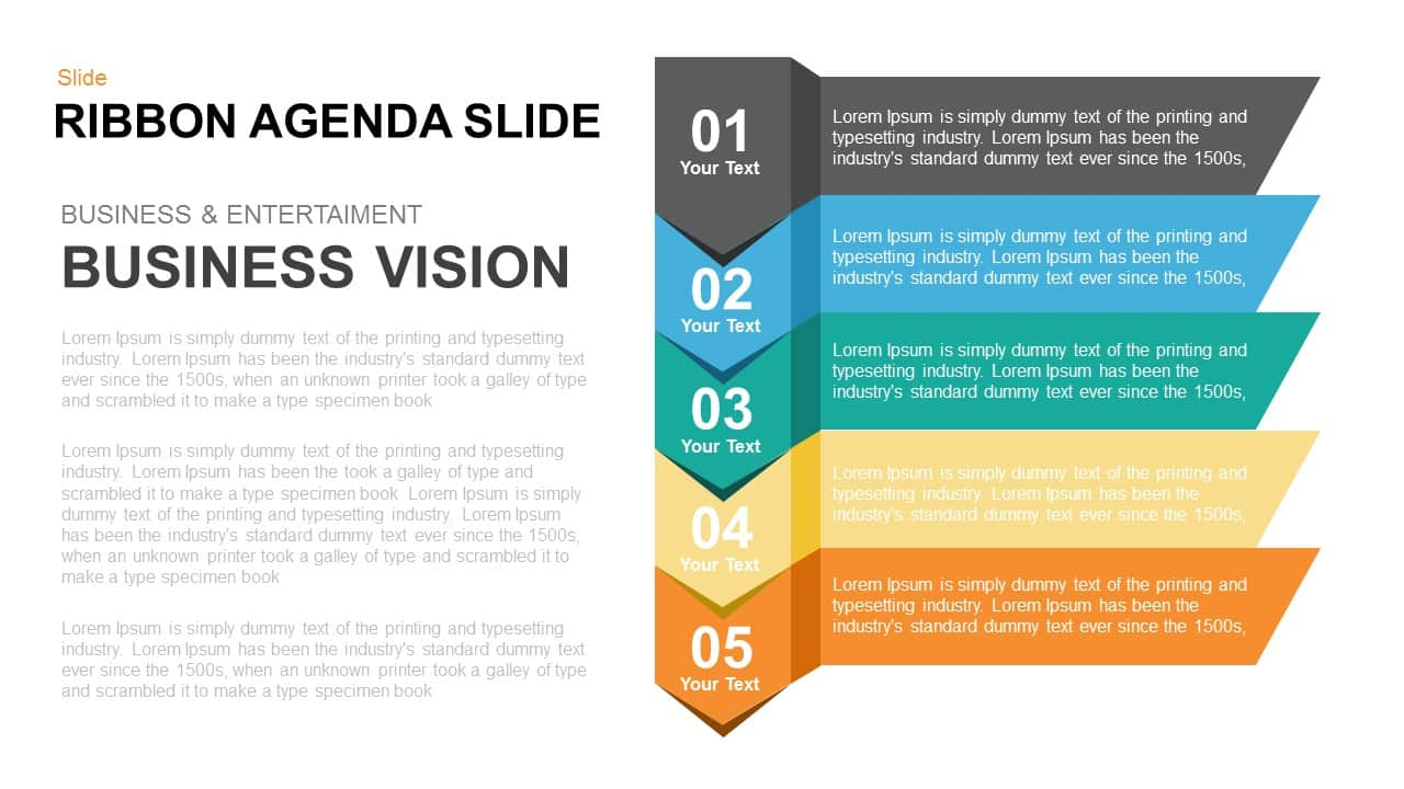 5 items ribbon agenda slide template for PowerPoint and Keynote