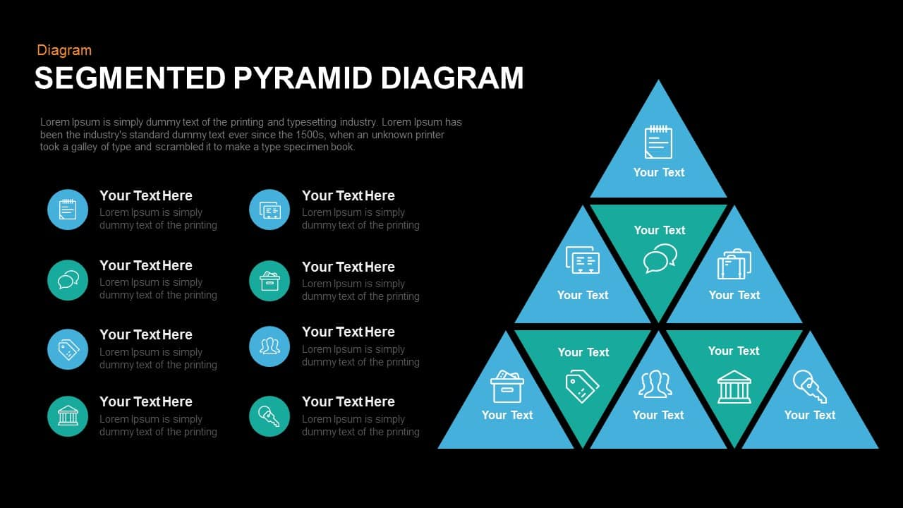 Segmented pyramid diagram PowerPoint template and keynote