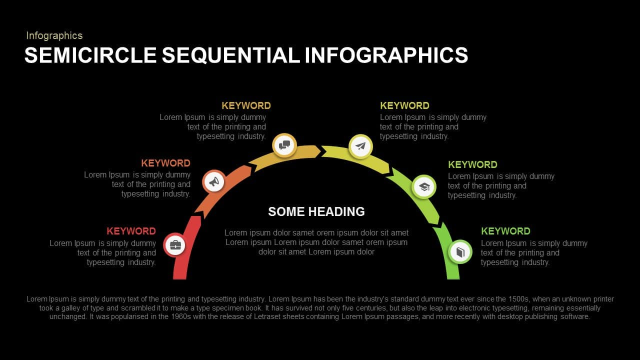 Semicircle Sequential Infographics Powerpoint and Keynote template