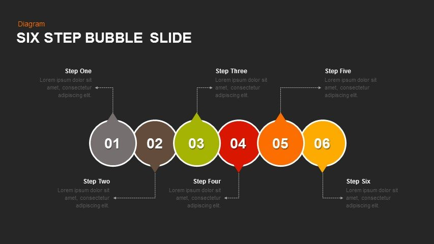 Six Step Bubble Powerpoint and Keynote Slide
