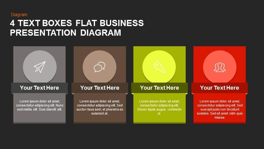 4 Text Boxes Flat Business Presentation Diagram