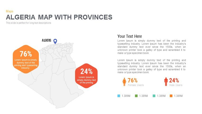 Algeria Map With provinces Powerpoint and Keynote template