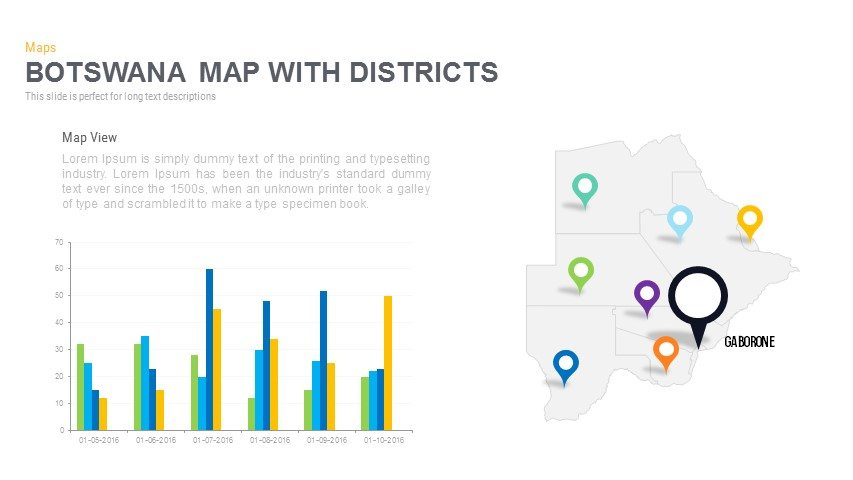 Botswana Map With districts Powerpoint and Keynote template